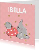 Blij geboortekaartje met vrolijk olifantje en gouden hartjes