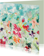 Bloemen kaart schilderij