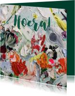Bloemen kunst eigen txt en achtergrondkleur
