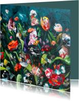Bloemen schilderij print petrol