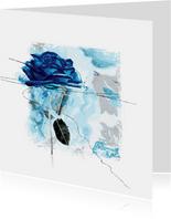 Bloemenkaart blauwe roos op vierkant