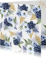 Bloemenkaart blauwe rozen