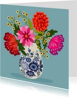 Bloemenkaart - Boeket bloemen in delfts blauwe vaas