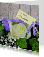 Bloemenkaart lint hout wit paars