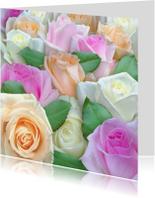 Bloemenkaart met diverse mooie rozen in pasteltinten