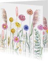 Bloemenkaart met droogbloemen