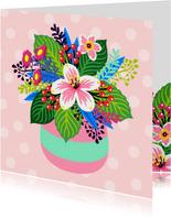 Bloemenkaart met illustratie van een kleurrijk boeket
