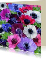 Bloemenkaart met kleurrijke Anemonen voor een vriendin