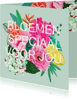 Bloemenkaart met moderne strakke lettering