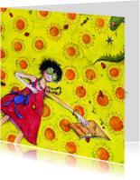 Bloemenkaarten - Bloemenkaart met zonnige groeten