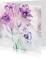 Bloemenkaart paars boeket aquarel