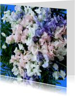 Bloemenkaart paars,roze,wit
