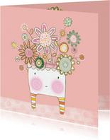 Bloemenkaart plant gezichtje roze - MW
