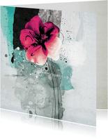 Bloemenkaart roze bloem painting