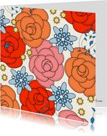 Bloemenkaart - Rozen - met kleurplaat