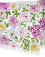 Bloemenkaart rozen pastel