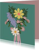 Bloemenkaart - vaas met bloemen