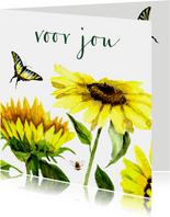 Bloemenkaart Vrolijke zonnebloemen