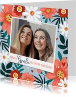Blumengrußkarte mit eigenem Foto