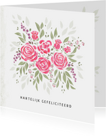 Boeket bloemen met roze rozen