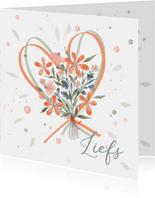 Boeket bloemen oranje met harten