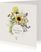 Bohemian flower trouwkaart