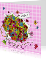Verjaardagskaarten - Bos bloemen verjaardag vrouw