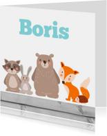 Geboortekaartjes - Bosdieren met hout - Geboorte