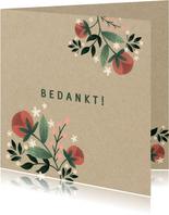 Botanisch bedankkaartje met bloemen, planten en kraftlook
