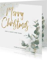 Botanisch Weihnachtskarte mit Wasserfarbe und Zweig