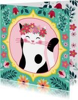 Botanische dierenkaart kat
