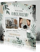 Botanische Einladungskarte zur Einweihung mit eigenen Fotos