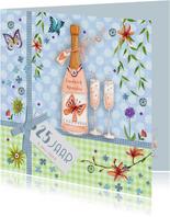 Botanische jubileumkaart met champagne