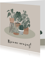 Botanische kaart nieuwe woning met plantenillustratie