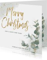 Botanische kerstkaart takje, merry christmas en waterverf