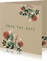 Botanische save the date kaart met bloemen, planten en kraft