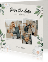 Botanische Save the date kaart met fotocollage