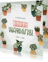 Botanische uitnodiging housewarming met planjes en hartjes