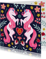 Botanische unicorn verjaardagskaart