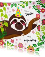 Botanische verjaardagskaart luiaard