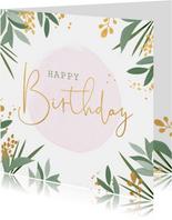 Botanische verjaardagskaart met gouden accenten