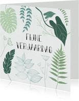 Botanische verjaardagskaart met handlettering