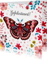 Botanische verjaardagskaart met mot en bloemen