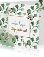 Botanische verjaardagskaart met vlinders