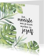 Botanische woonkaart met quote
