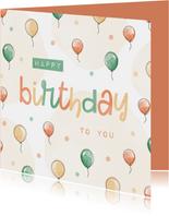 Bunte Geburtstagskarte Luftballons