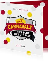 Carnavalskaart Nijmegen Knotsenburg corona confetti feestje