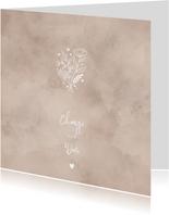 Change the date kaart waterverf, bloementakjes en hartje