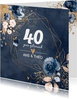 Chique donkerblauwe 40 huwelijksjubileum kaart bloemen