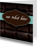 Chocoladereep wenskaart vierkant
